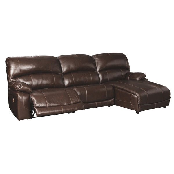 Hallstrung 3 Piece Power Sectional - Chocolate
