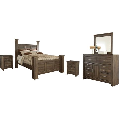 Atara 6 Piece Queen Poster Bedroom - Dark Brown