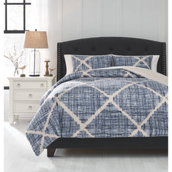 Cooper  King Comforter Set - Blue/Cream