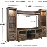 Trinell 4 Piece Entertainment - Rustic Brown