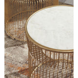 Vernway Accent Table - White/Gold