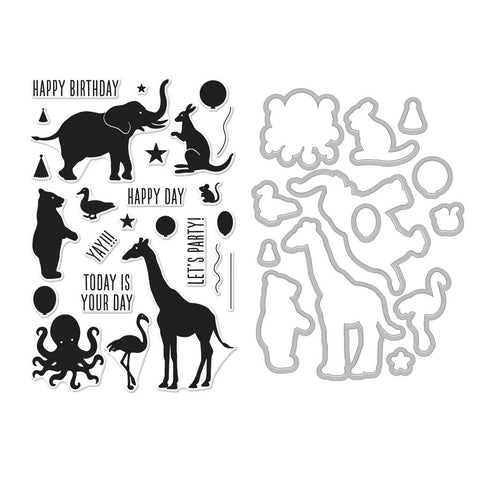 Birthday Animal Silhouettes Stamp + Die Combo