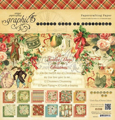Graphic 45 Twelve (12) Days Of Christmas 12x12 Inch Paper Pad
