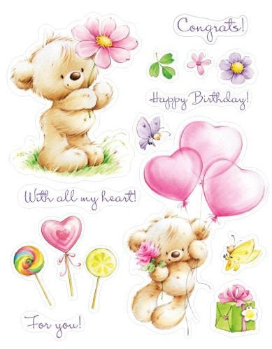 ScrapBerry's: My Little Bear With Toy Balloons Stamps - YourHobbyMarket
