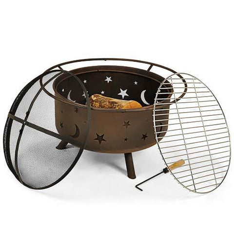 "30"" Diameter Fire Pit with Cooking Grill - HearthWorld.com"