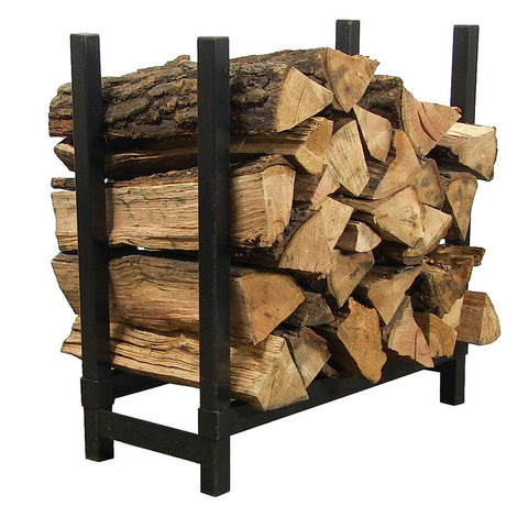 "24"" Black Steel Firewood Log Rack - HearthWorld.com"