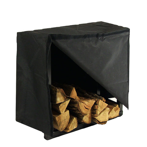 "24"" Black Steel Firewood Log Rack with Cover - HearthWorld.com"