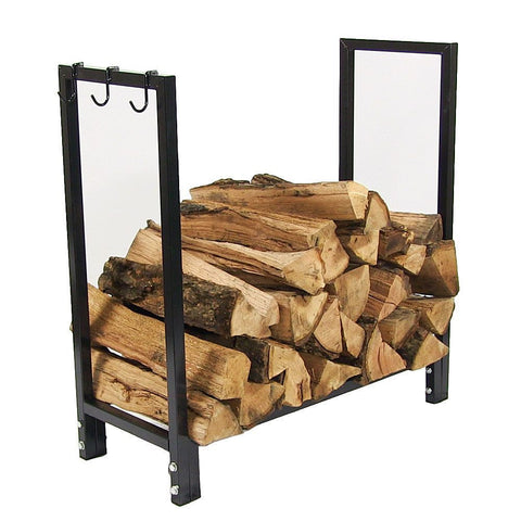 "30"" Black Steel Firewood Log Rack Cover - HearthWorld.com"