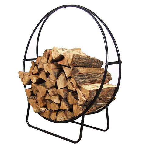 40-Inch Tubular Steel Firewood Log Hoop with Cover - HearthWorld.com
