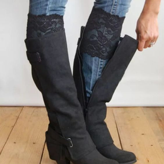 Lace Boot Cuffs - Black