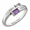 Double Baguette Bypass Sterling Silver Birthstone Ring