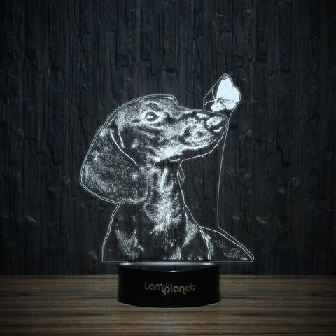 Dachshund And Butterfly 3D Lamp Lamplanet