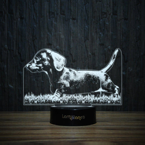 Dachshund Puppy On Grass 3D Lamp Lamplanet