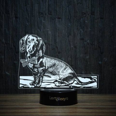 Dachshund With Bow Tie-3D Lamp-Lamplanet
