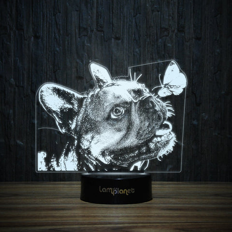 Frenchie And Butterfly-3D Lamp-Lamplanet