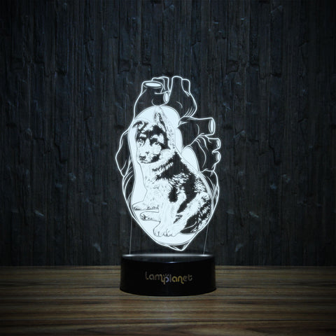 German Shepherd In My Heart-3D Lamp-Lamplanet
