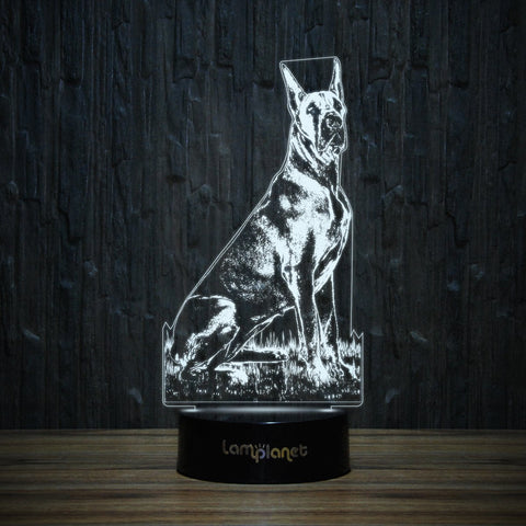 Great Dane Sitting On Grass-3D Lamp-Lamplanet