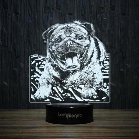Happy Pug-3D Lamp-Lamplanet