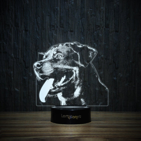 Happy Rottie-3D Lamp-Lamplanet