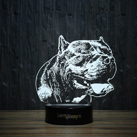 Pit Bull Daddy-3D Lamp-Lamplanet