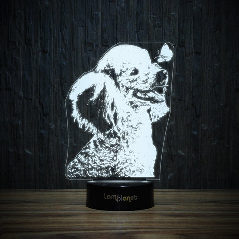 Poodle And Butterfly-3D Lamp-Lamplanet