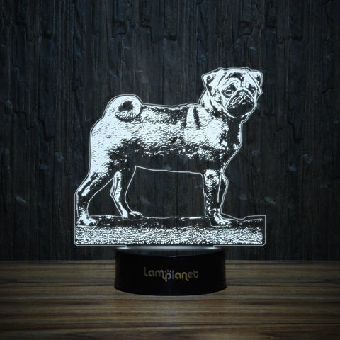 Pug on Grass-3D Lamp-Lamplanet