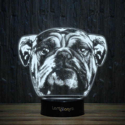 Puppy Eyed Bulldog-3D Lamp-Lamplanet