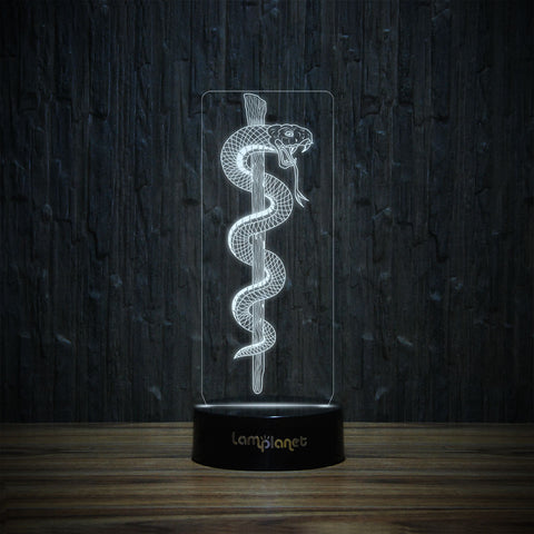 Rod of Asclepius-3D Lamp-Lamplanet