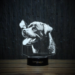 Rottie And Butterfly-3D Lamp-Lamplanet