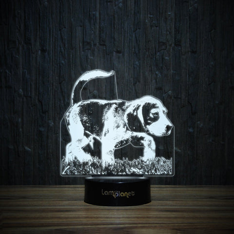 Sniffy Beagle On Grass-3D Lamp-Lamplanet