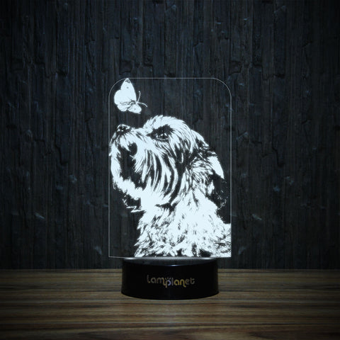 Yorkie And Butterfly-3D Lamp-Lamplanet