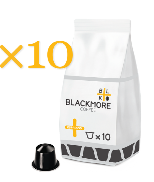 Espresso Blackmore Coffee™ — 10 Capsules [Regular or Decaffeinated]