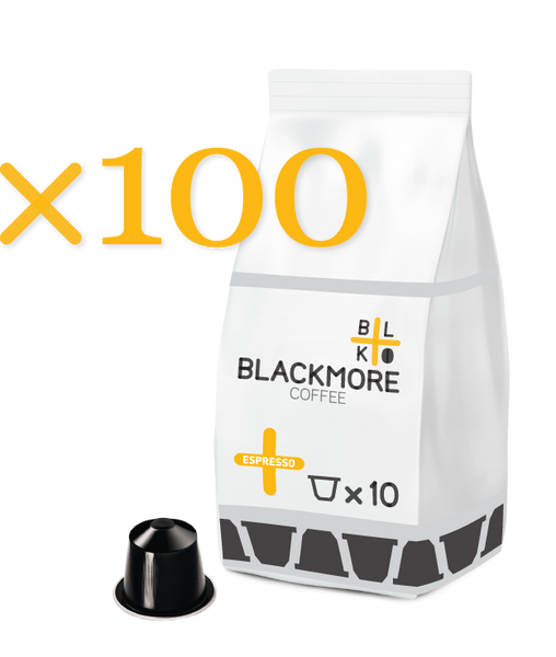 Espresso Blackmore Coffee™ — 100 Capsules [Regular or Decaffeinated]