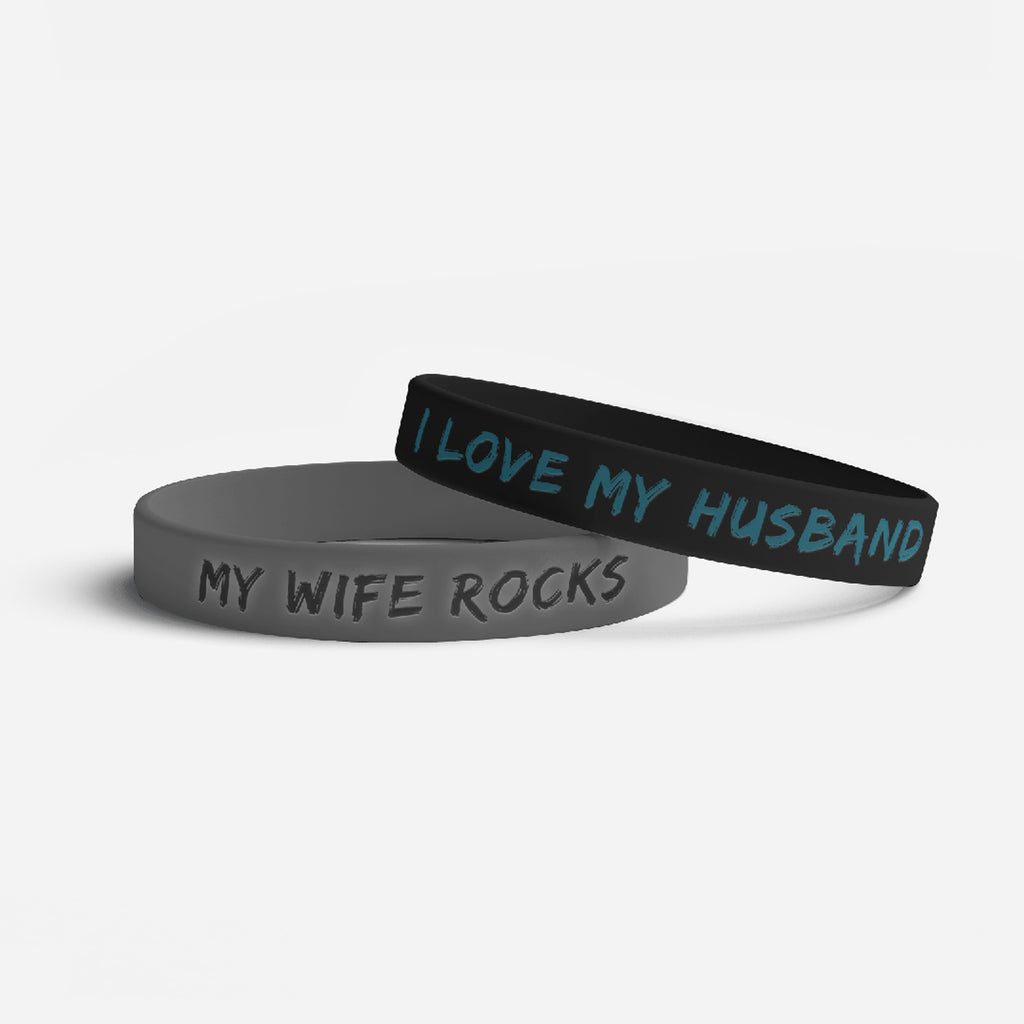I Love My Husband/My Wife Rocks Bracelet Black and Silver