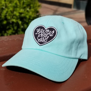 Heart Patch Dad Hat - Lagoon Blue