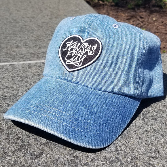 Heart Patch Dad Hat - Denim