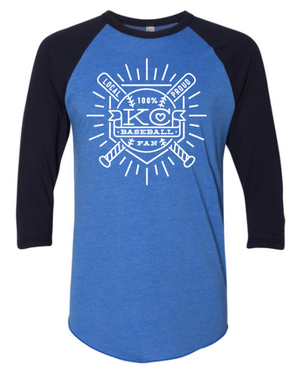 Baseball Fan Raglan - Navy and Royal Blue