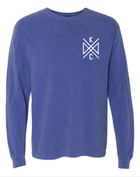Crossroads Pocket Long Sleeve Comfort Color Tee - Blue