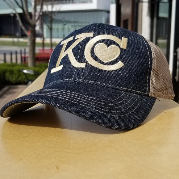KC Heart Trucker Hat - Denim