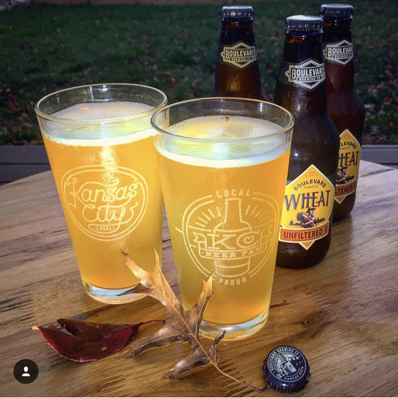 Laser Etched Pint Glasses - 4 Pack