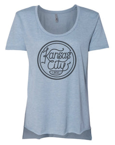 Kansas City Local Women's Scoopneck - Concert Blue