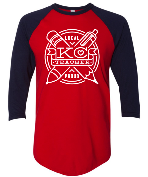 KC Teacher Raglan - Navy and Crimson