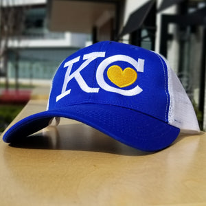 KC Heart Trucker Hat - Royal Blue