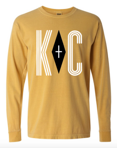 Positive Vibes Comfort Color Long Sleeve Shirt - Mustard