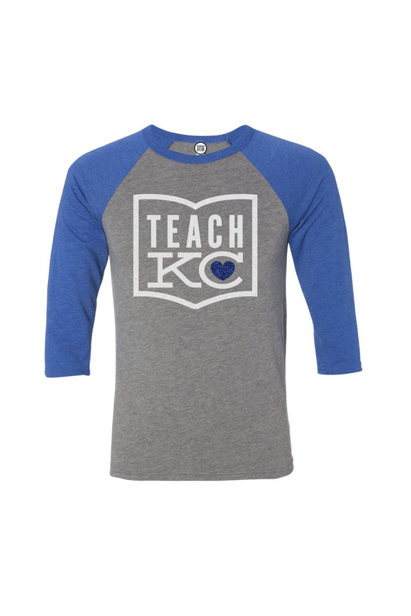 Teach KC Raglan - Royal Blue and Grey