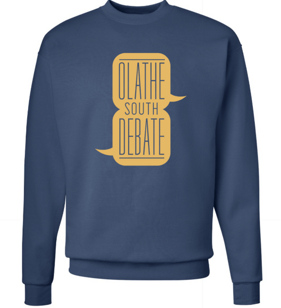 Olathe South Debate Crewneck Sweatshirt in Denim Blue