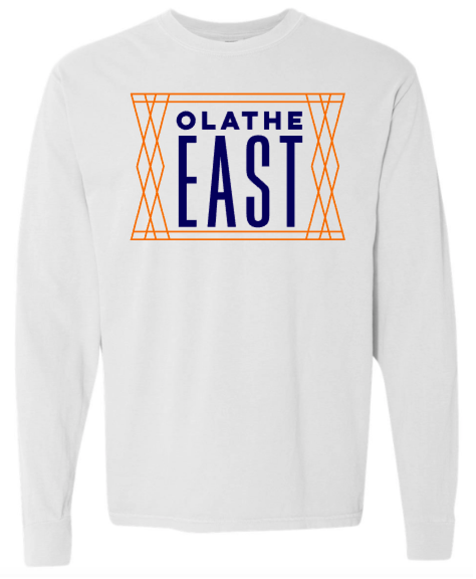 Olathe East White Comfort Color Long Sleeve T-shirt
