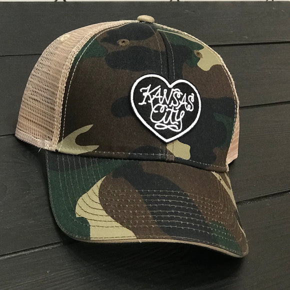 Kansas City Heart Patch Trucker Hat - Camo