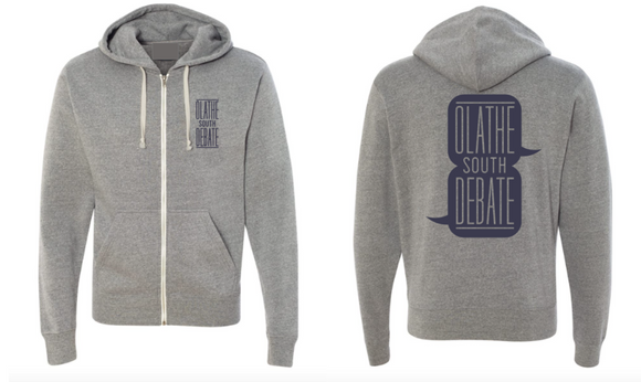 Olathe South Debate Full Zip Triblend Grey Hooded Sweatshirt