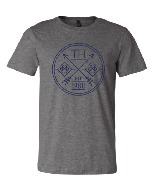 Tomahawk (circle) ADULT Unisex Grey Tshirt